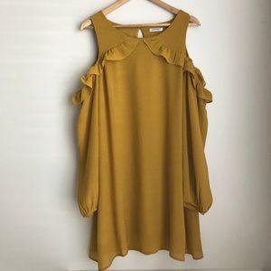 Cold shoulder mustard dress